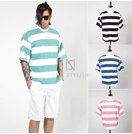 Basic Big Stripe Cotton T Shirts 771