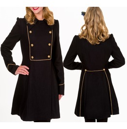 Women Banned Prom Night Coat Gothic Black Military Double Breasted Coat For