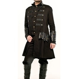 Men Black Long Victorian Style Jacket Gothic Pirate Coat Steampunk Coat Jac