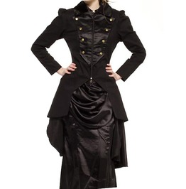 Women Long Black Cabaret Jacket Sober Gothic Steampunk Jacket Coat For Wom