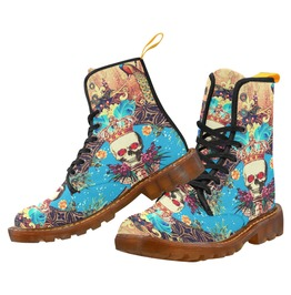 Funky Vintage Skull With Crown & Feathers Blue Canvas Combat Boot