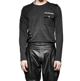 Men Black Military Uniform Gothic Black Long Sleeve Punk Men Shirt For Men