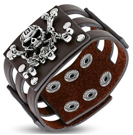 Genuine Brown Leather Pirate Skull Crossbones Snap Wristband Biker Bracelet