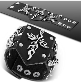 Genuine Black Leather Flaming Cross Stud Snap Wristband Bracelet
