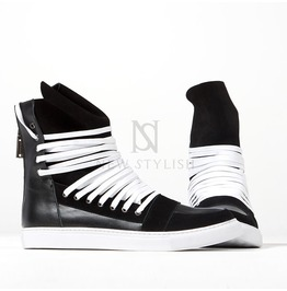 Overlaced Hightongue Zipper High Top White Sneakers 382