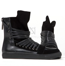 Overlaced Hightongue Zipper High Top Black Sneakers 383