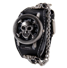 Fashion Men Punk Rock Skull Skeleton Leather Unisex Bracelet Wrist Watches