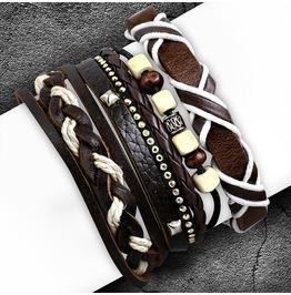 3 Bracelet Set Wood Beads Wrap Rope Braided Adjustable Leather Boho Style