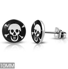 10mm Stainless Steel Pirate Skull Crossbones Circle Stud Earrings Pair