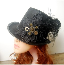 Retro Diy Steampunk Black Top Hat
