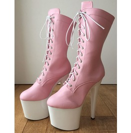 fe9c3f662810 Rtbu Zoe 20cm Platform Calf Lace Up Boot Cosplay Kawaii Pastel Baby Pink