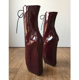 Begin Iii (No Zip) Ballet Wedge Training Fetish Bdsm Burgundy Patent