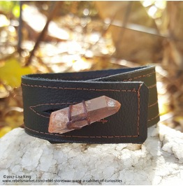 Brown Leather Cuff, Upcycled Material, Rose Quartz Twine Wrapped Accent