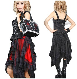 Gothic Lolita Harajuku Lace Womens Skirt Black Red