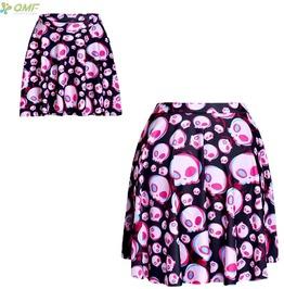 Pastel Goth Pink Skull Print Mini Skirt