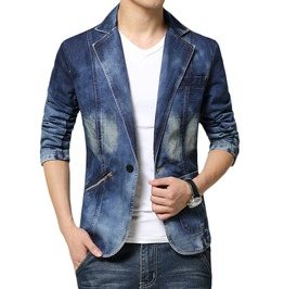 One Button Slim Fit Men's Denim Blazer Suit Jacket