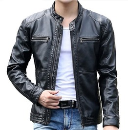 Stand Mandarin Collar Zipper Closure And Pockets Solid Leather Jacket Men