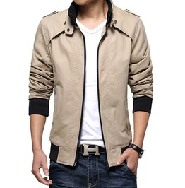 Patchwork Slim Fit Stand Collar Zipper Closure Military Design Men's Jacket
