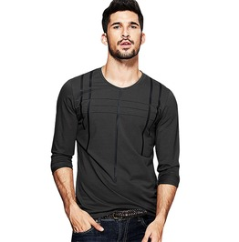 Striped Gray Green Black Men's Long Sleeve Slim Tops Tees
