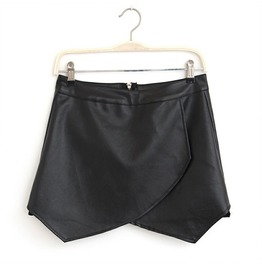 Asymmetrical Faux Leather Mini Skirt Womens