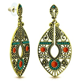 Fashion Vintage Style Bohemian Costume Drop Dangle Bead Stud Earrings Pair