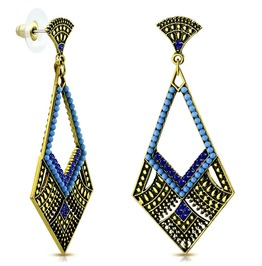 Fashion Vintage Style Bohemian Costume Drop Dangle Kite Blue Stud Earrings