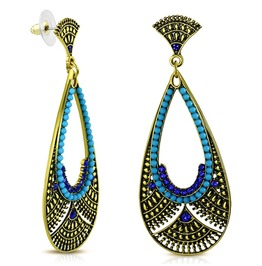 Vintage Style Bohemian Costume Teardrop Dangle Blue Stud Earrings Pair