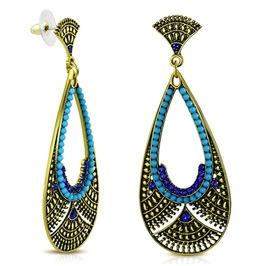 Vintage Style Bohemian Costume Teardrop Dangle Blue Stud Earrings Pair