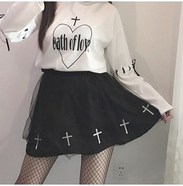 Harajuku Japenese Cross Skater Skirt Black White Women's