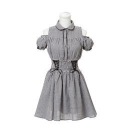 Lolita Harajuku Shoulder Off Grey Lace Up Dress Women's
