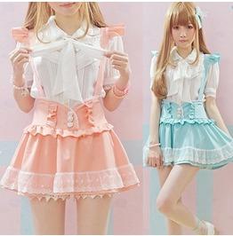 Cute Harajuku Shoulder Strap Cute Skirt Blue Pink