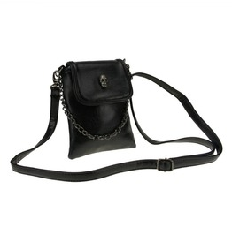 Skull Detail Leather Womens Side Bag Black Chain