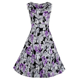 Summer Vintage Charm Women Casual Fit And Flare Floral Sleeveless Dress