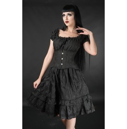Black Brocade Gothic Rockabilly Pirate Ruffle Corset Dress