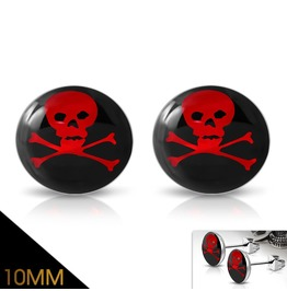 10mm Stainless Steel 3 Tone Crossbones Skull Circle Stud Earrings Pair