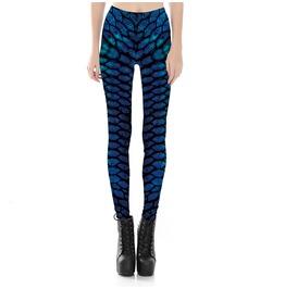 Blue Scale Printed Leggings Womens S 3 Xl