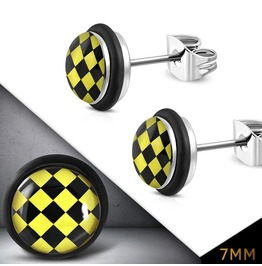 7mm Stainless Steel Yellow Grid Checker Circle Stud Earrings W O Rings Pair