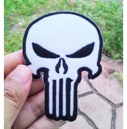 White Punisher Iron On Patch.