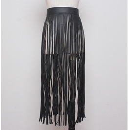 Black Gothic Fringe Skirt Snap Belt