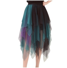 Mid Calf Tutu Skirt Black Mixed Womens