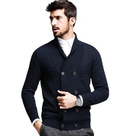 Cotton Striped Blue Knitted Turn Down Collar Buttons Cardigan Sweater Coats