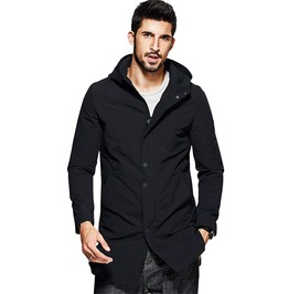 Casual Trench Black Hooded Long Coat Slim Overcoat Windbreaker