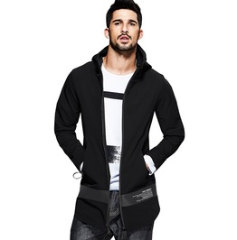 Face Bravely Men's Fashion Trench Patch Letter Black Hooded Long Coats