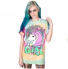 Dark Forest Magic Girl Unicorn Tie Dye T Shirt Womens Print