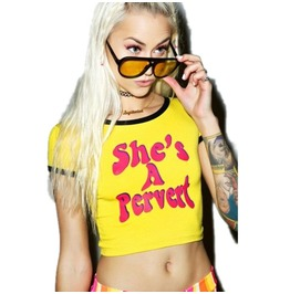 She's A Pervert Crop Top T Shirt Women's Yellow