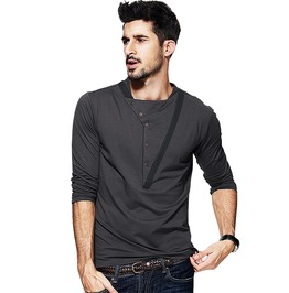 Autumn Patchwork Button Gray Men's Long Sleeve Slim Fashion T Shirt