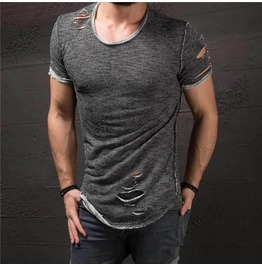 Vintage Style Mens Ripped T Shirt Black Grey