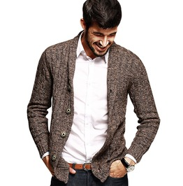 Button Design Turn Down Collar 100% Cotton Coffee Knitted Cardigan Men's