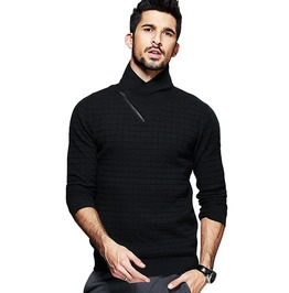 Black Plaid Zipper Knitted Slim Men's Sweaters Pullovers