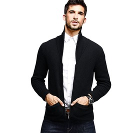 Black Slim Fit Zipper Autumn Men's Sweater Knitwear Cardigan